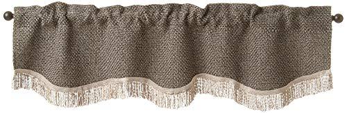 Violet Linen Basketweave Design, Polyester Chenille, Damask Poly, with Fringes Decorative Window Treatment Rod Pocket Curtain Valance, 60