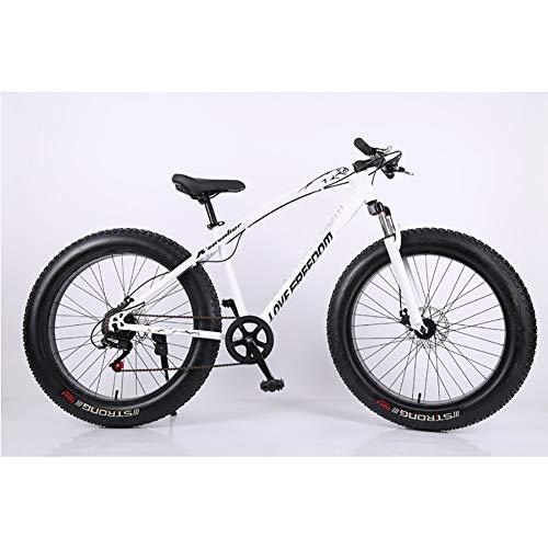 Mountainbike für Herren, 26 Zoll Fat Tire Rennrad Schnee Fahrrad Beach Bike Stahlrahmen mit hohem Kohlenstoffgehalt, 7/21/24/27 Geschwindigkeit Mit Scheibenbremsen und Federgabel,White,21Speed