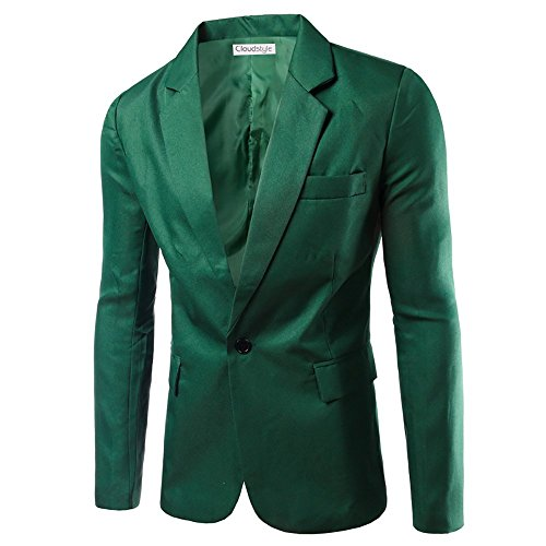 Mens Casual Suit Jackets Slim Fit Blazer One Button Suits Coat Solid Casual Jacket Tops Green L