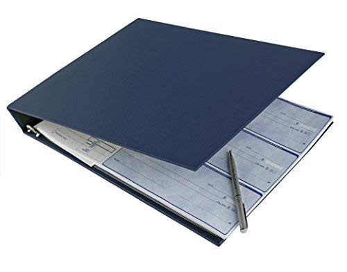 ABC Durable 7-Ring 3 On A Page Business Check Book Binder, 600 Check Capacity, with Clear Vinyl Pouch Bill Keeper – Removable 6-Year Calendar Color Blue