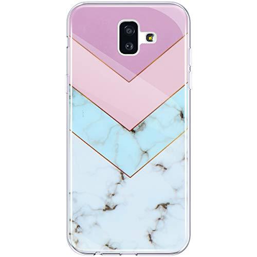 Hpory Custodia Samsung Galaxy J6 Plus 2018, Cover Samsung J6 Plus 2018 Marmo Modello Morbido Custodia Gel Silicone TPU Cover Antiurto AntiGraffio Bumper Marble Colorato Backcover, Colorato