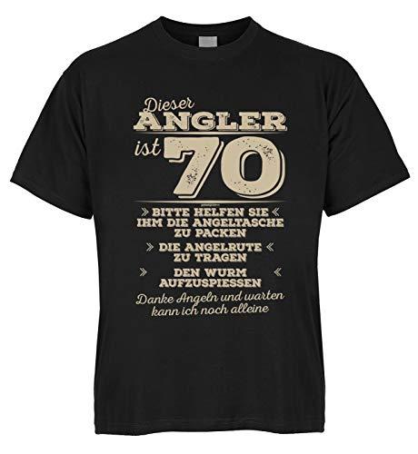 Wels Zander Carpe Shirt Fischer Ce pêcheur est 70 s'il vous plaît aider à emballer le sac de pêche – avec mini t-shirt comme cadeau. - Noir - 44