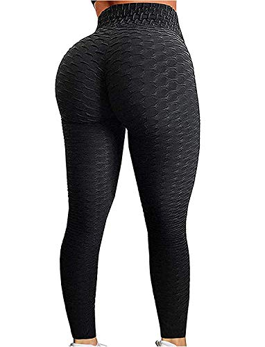 FITTOO Women's High Waist Yoga Pants Tummy Control Scrunched Booty Leggings Workout Running Butt Lift Textured Tights Peach Butt Black(S)