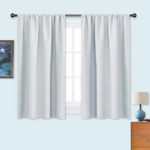 NICETOWN Greyish White Window Curtain Panels - Thermal Insulated Rod Pocket Room Darkening Curtain Sets for Bedroom (Platinum - Greyish White, 2 Panels, 42 by 45)