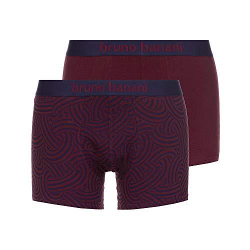 bruno banani Herren Short 2er Pack Maniac Boxershorts, Rot (Weinrot/Blaugrau Print//Weinrot 2737), Medium (Herstellergröße: M)