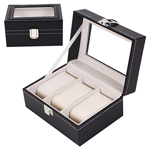 Caja de 3 ranuras para relojes, Caja para relojes Caja de reloj con cerradura con tapa de vidrio, con almohadas extraíbles Caja de colección de relojes clásicos Regalos para hombres y mujeres