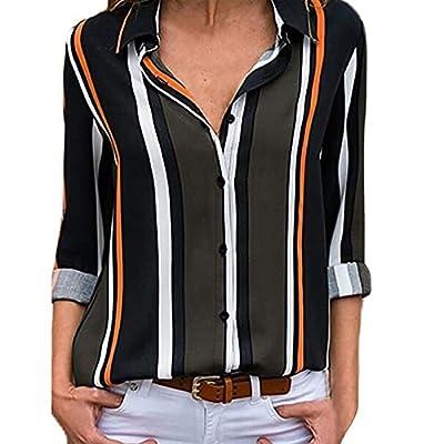 Amazon - Save 80%: Mujer Striped Casual V-Neck Shirt All-Match Lapel Chiffon Shirt