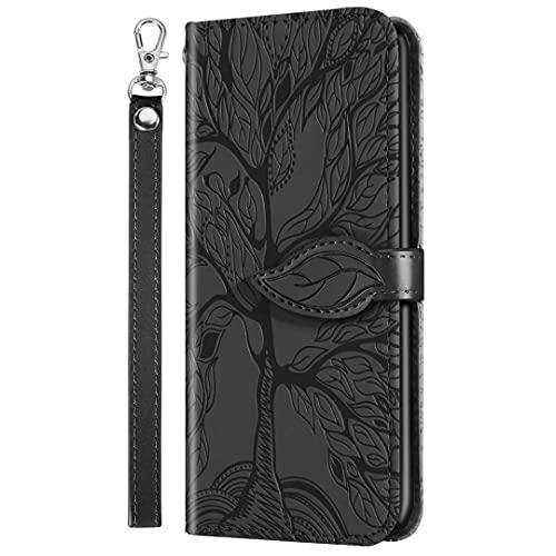 Nadoli Wallet Custodia per Xiaomi Redmi Note 10 5G,Creativo Chiusura Magnetica Cinturino da Polso Funzione Supporto Portafoglio Custodia in Pelle con Foglie Albero Disegno