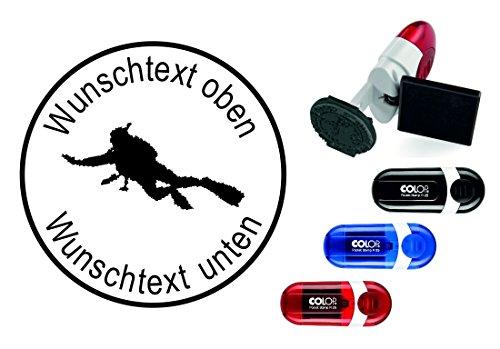 Taucherstempel « TAUCHER 07 » mit persönlichem Namen & Tauchspruch - Abdruckgröße ca. Ø 24 mm - Tauchen Diving - Stempel für Logbuch
