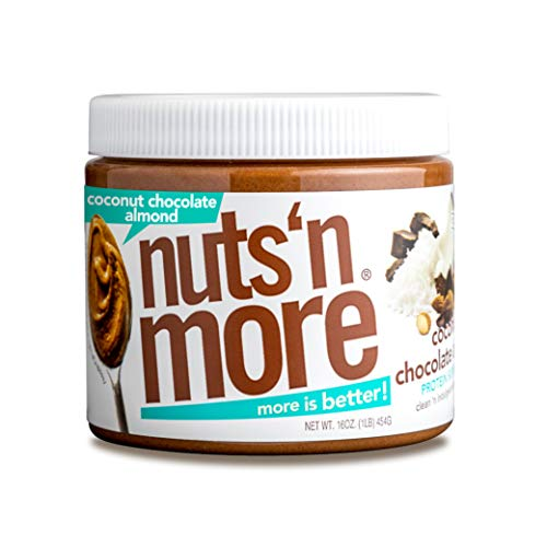 Nuts 'N More Coconut Chocolate Almond Butter Spread, All Natural High Protein Nut Butter Healthy Snack, Omega 3's, Antioxidants, Low Carb, Low Sugar, Gluten-Free, Non-GMO, No Preservatives,16 oz Jar