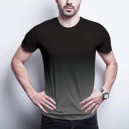 Qier Tshirt Herren Grafische Kurzarm-Oberteile, Baumwoll-T-Shirt, T-Shirts Mit 3D-Farbverlauf, Schwarz, Xs