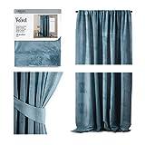 AmeliaHome Cortina de terciopelo con aspecto aterciopelado, 140 x 270 cm, color azul, 1 unidad, cinta fruncida, cortina opaca para ventana, ligera, brillante, decorativa, cortina decorativa