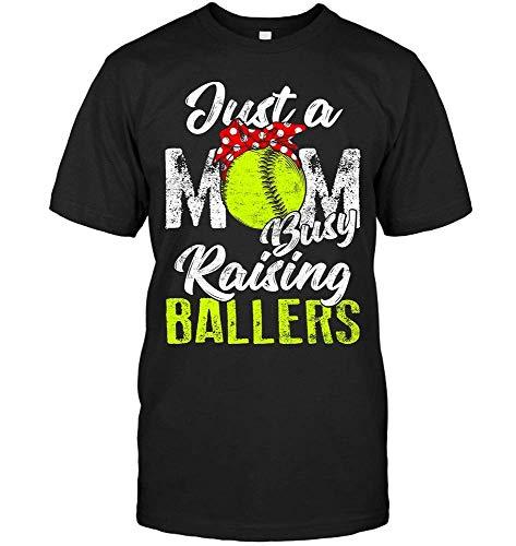 WHI-TS Interessant Custom T-Shirt Herren's JUST A MOM Busy Raising Ballers T-Shirts