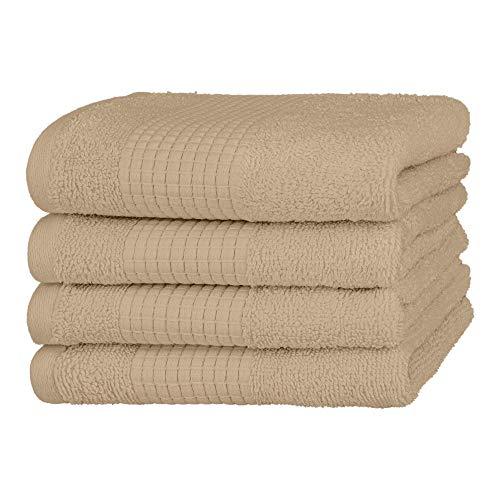 Merana Handtuch Set | saugstark, weich und fusselfrei | Frottier Gäste-Handtuch Qualität aus Schwerer Bio-Baumwolle 590 GSM (Desert Sand, 4 x Gästetücher (30x50cm))