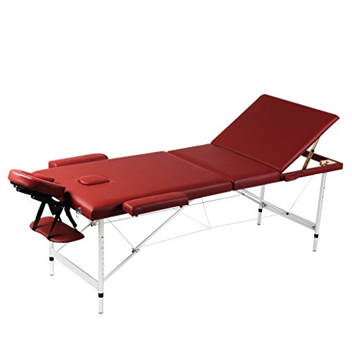 Festnight Massageliege 3 Zonen Massagetisch Massagebank mit Aluminiumrahmen Faltbar Rot