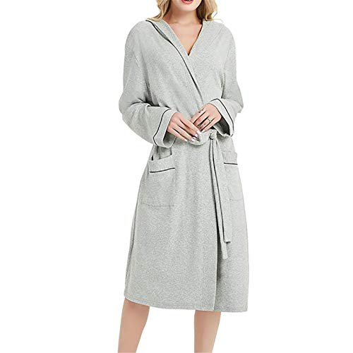 Camisón de otoño e invierno para mujer, de manga larga, simple, natural, sin costuras, toalla de servicio para el hogar, pijama (color: gris, tamaño: Xxxxxl)
