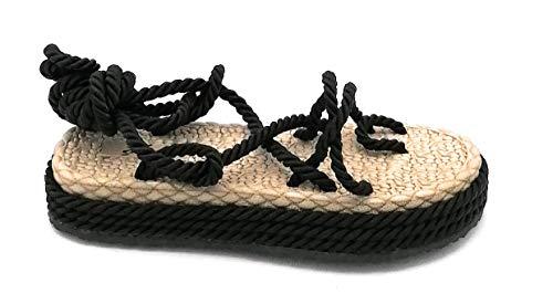 Ovye SW106 Sandale, Zehentrenner, Seil, schwarz, Schnürung, Knöchelriemen, Größe 40 EU