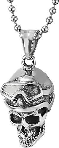 NC83 Retro aviator skull men s colgante casco y gafas de acero inoxidable simple collar con encanto de personalidad fresca