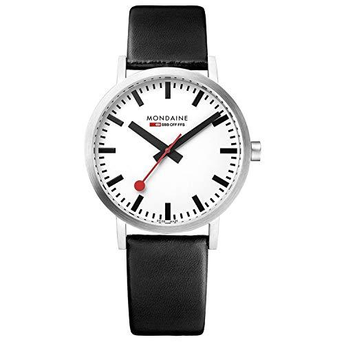 Mondaine Classic - Schwarze Lederuhr für Herren und Damen, A660.30314.11SBB, 36 MM
