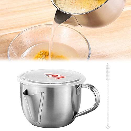 yummyfood Fettabscheider Kanne Mit Deckel/Pinsel 304 Edelstahl Fetttrennkanne Ölsieb Ölabscheider Küchengeräte, 1000ml