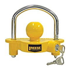 "DIMENSIONS: 9"" x 9"" x 3"" BUILT TO LAST: The REESE Towpower Universal Coupler lock is a premium lock constructed with an aluminum body and heavy-duty steel lock bar. UNIVERSAL FIT: Ratchet design is adjustable with 11 locking positions and fits 1-⅞"", ..."