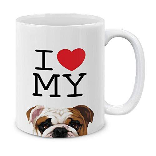 N\A Amo mi inglesTaza de té de cerámica Bulldog, 11 oz