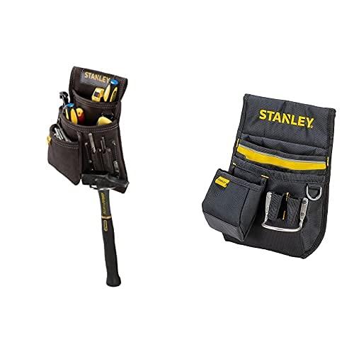 Stanley Stst1-80114 - Bolsa para Clavos con Soporte para Martillo, Amarillo / Marrón + 1-96-181 - Cinturón Portaherramientas