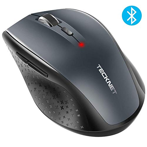TECKNET Bluetooth Maus, Alpha 3000 DPI Kabellose Maus Wireless Bluetooth Mouse mit Batterieanzeige für PC Mac, 5 Verstellbare DPI Level