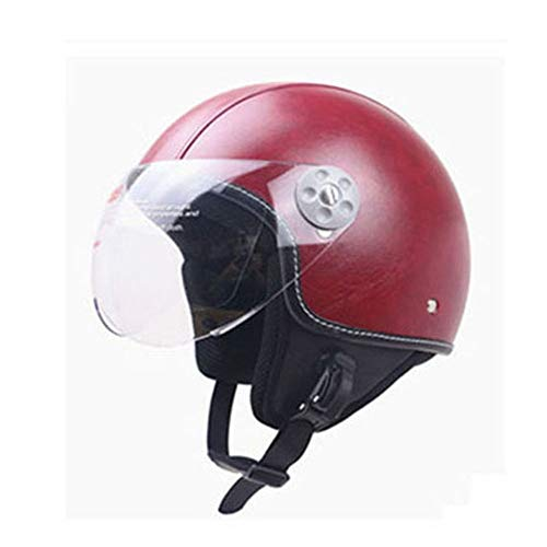 NOMEN ZR-Ouvrir Le Visage déroulant visière Vintage Half Casques Moto Crash Casque Pilote Jet-Casque Dot certifié PU Cuir vin Rouge (M, L, XL),M