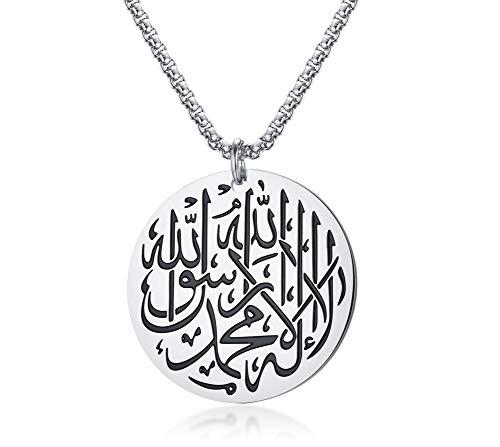 VNOX Edelstahl Runde Muslim Shahada Islam Koran Allah Anhänger Halskette für Männer Frauen,Freie Kette