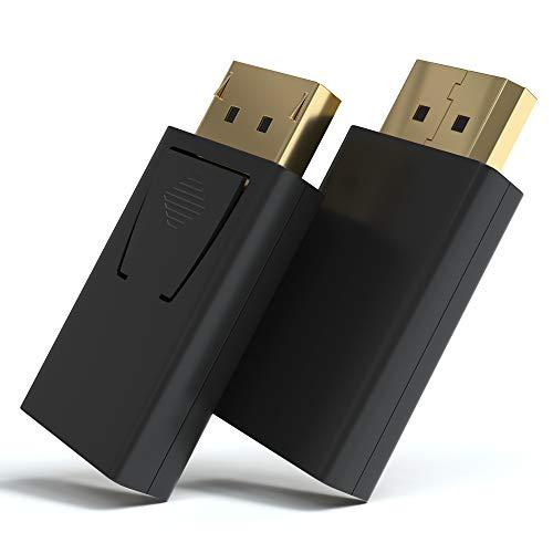 JAMEGA – DisplayPort auf HDMI Adapter | Vergoldet DP 1.2 3D Full HD 1080p bei 60Hz HDCP 32 Bit True Color Konverter kompatibel mit HP Elitebook, Lenovo, Thinkpad, Mac, Apple, Grafikkarten