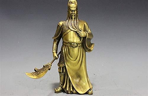Hong Yi Fei-Shop Guan Yu Estatua Chino Puro Cobre latn Tres reinos era Guerrero Dios Guan Gong Estatua Feng Shui Decoracin