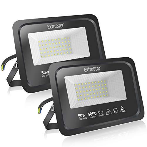 Extrastar Focos LED exterior 50W Potente Luces Led Exterior IP65, Luz Blanca frio 6500K [Clase de eficiencia energética A+]2...