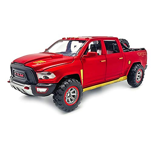 Nrpfell 1:32 Modelo de Camioneta Pickup de AleacióN con Sonido de NeumáTico de Repuesto y Juguete de Retorno de Luz para Cumplea?Os de Ni?Os Rojo
