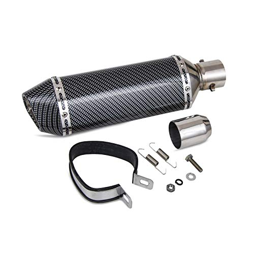"NICECNC Carbon Fiber Painted 1.5-2""Inlet Exhaust Muffler with Removable DB Killer for Street/Sport Motorcycles and Scooters with 38-51mm Diameter Exhaust Pipes"