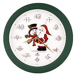 Justime Splendid 14-inch 12 Song of Carols of Christmas Warm Santa Claus & Snowman Melody Wall Clock, Quartz Home Wall Deco Clock (SS Green)