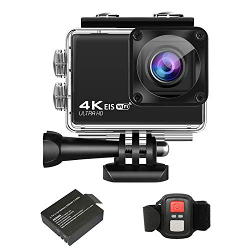 Andoer 4K Action Camera, 24MP Ultra HD Sports Action Camera 2.4G Wireless Remote Control WiFi DV Camcorder with 170 Degree Wide Angle Waterproof Case Built-in Battery Accessory Kit