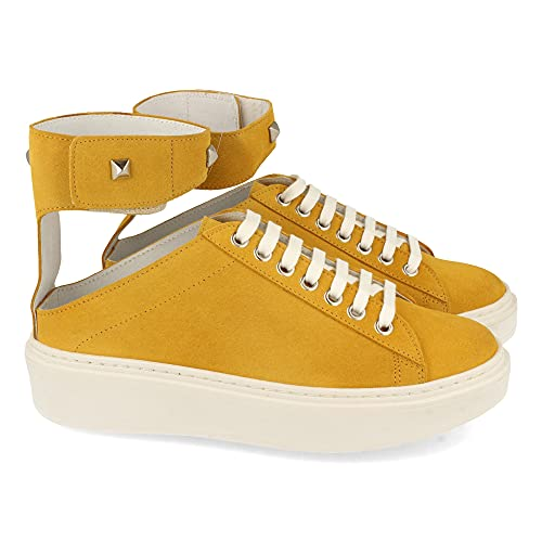 59151-Damen-Sneakers mit Klettverschluss am Knochel aus Leder, bequemer Pflanze und Schnursenkeln, Fruhling Sommer 2021. Size 39 Amarillo