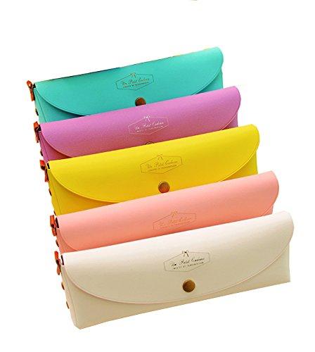 シンプルペンケース筆箱(ピンク) 化粧ポーチ スリムシンプルペンポーチ ペンケース かわいい筆箱 小...