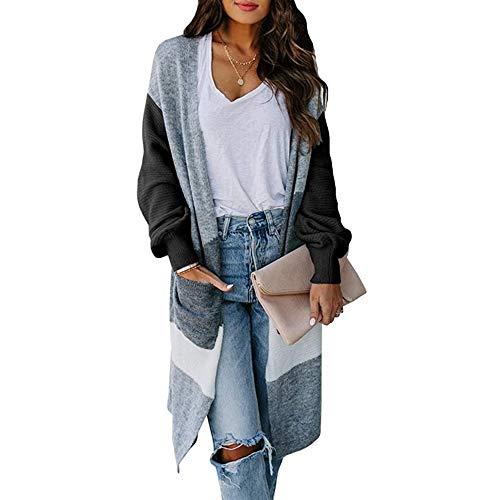 Vertvie Damen Strickjacke Cardigan Langarm Jacke Asymmetrisch Oberteil Open Front Mantel Outwear Strickmantel Sweater Cover Up S-2XL