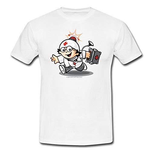 Mainzelmännchen Det Als Doktor Männer T-Shirt, XL, Weiß