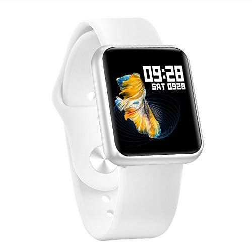 TWW Sportuhr, High-List-Point-Touchscreen-Uhr Sportschrittzähler Unterstützt Mehrere Sportmodi Musikmodusuhr,Weiß