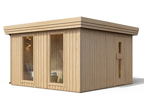ISIDOR Premium Gartensauna Vapor Outdoorsaua mit 4,1m² großem Saunaraum inkl. Sauna-Innenausstattung auf insgesamt 12,6m² Gebäudefläche