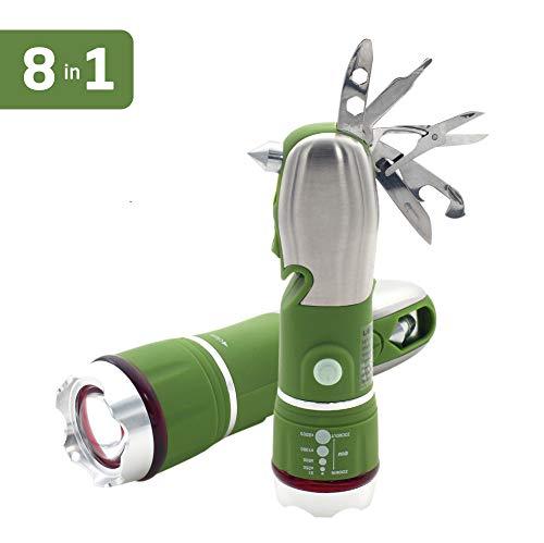 LEMEC Lampe Torche Multifonction, Outil Multifonction en Acier Inoxydable 8 en 1, Ciseaux Pliables et Couteau, Tournevis et Lampe de Poche Outils en Acier Inoxydable
