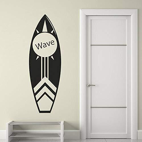 Adhesivo decorativo para pared de tabla de surf, playa costera decoración de surf tabla de surf para pared de deportes acuáticos tropicales vinilo póster de pared 42 x 129 cm
