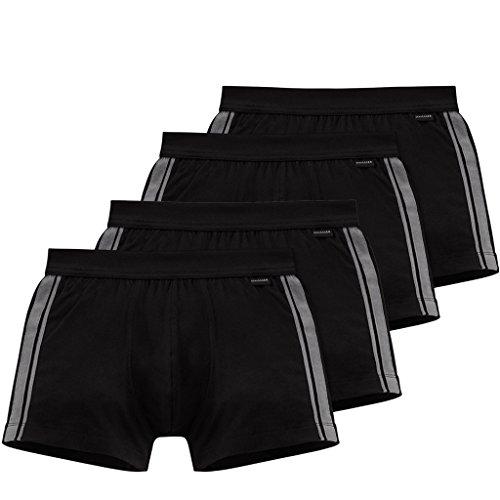 Schiesser Cotton Essentials Stretch Short - 035111-4er Spar-Pack (8 (XXL), 4 X Schwarz)