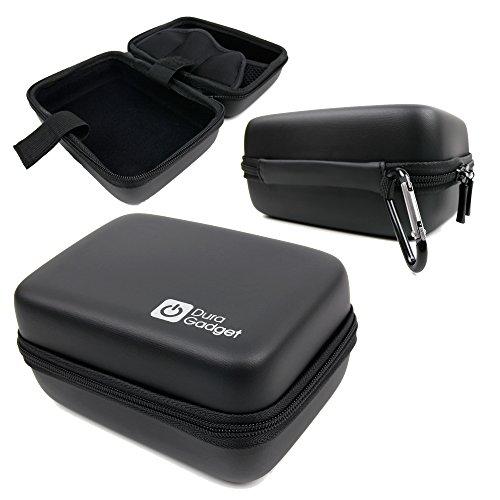 DURAGADGET Hard Shell Black EVA Case with Carabiner Clip - Compatible with HITACHI HDSVR70E /Olympus TG-Tracker/PROLINE PSV002 | PSV001 & RICOH WG-M2