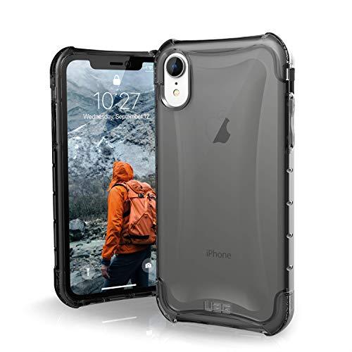 Urban Armor Gear Plyo Hülle für das Apple iPhone XR Handyhülle nach US-Militärstandard (Qi kompatibel, Verstärkte Ecken, Vergrößerte Tasten) - dunkel (transparent)