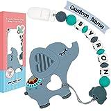 Panny & Mody Clips para chupete personalizados Mordedores de Silicona Elefante para bebé Juguetes para dentición Soother Cadena de chupete Cuentas masticables de ducha Hecho a mano (Gris)