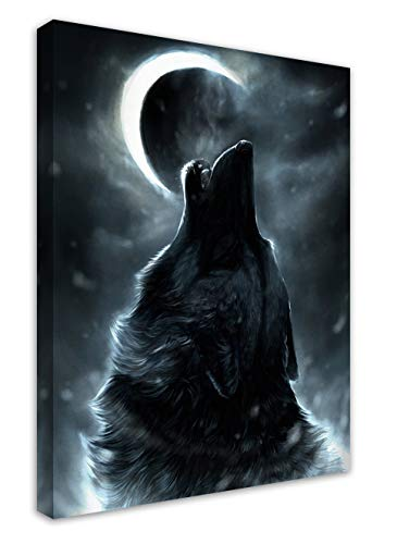 HANKCLES Wolf Howling at Moon Framed Contemporary Wall Art Canvas Giclee Matte Prints Painting 12x16inch Home Decor for Bedroom